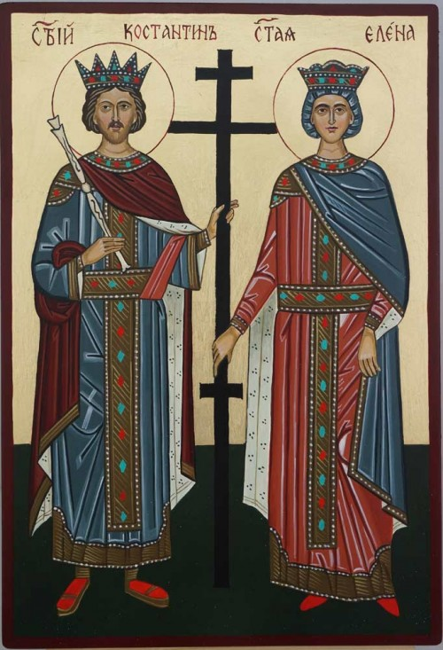 Saints Constantine and Helen Hand Painted Orthodox Icon on Wood