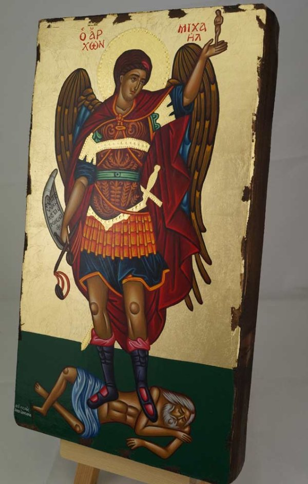 St Archangel Michael Greek Hand Painted Icon Polished Gold Decorations