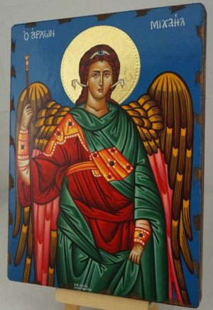 St Archangel Michael Hand Painted Greek Orthodox Icon Polished Gold Halo
