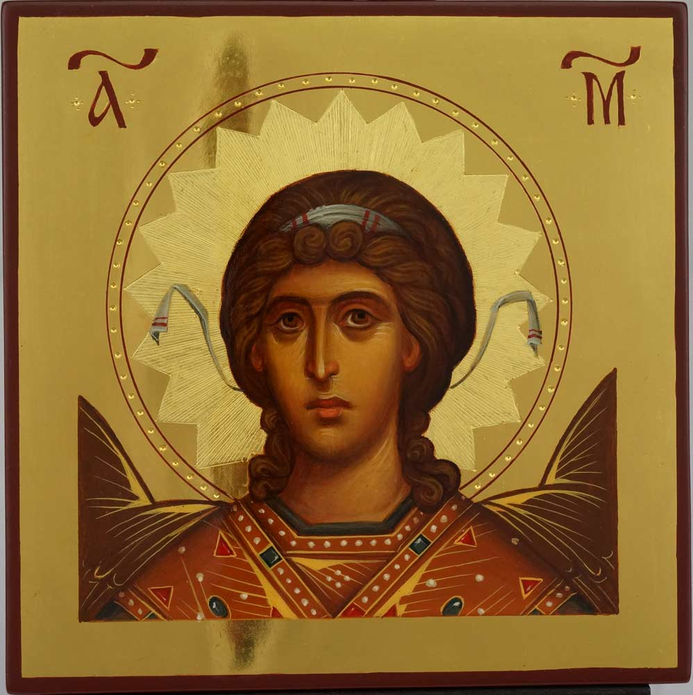 St Archangel Michael Polished Gold Hand Painted Icon Byzantine Orthodox