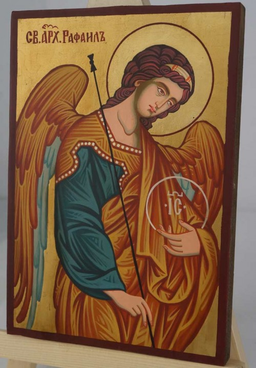 St Archangel Raphael the Healer Hand Painted Orthodox Icon small