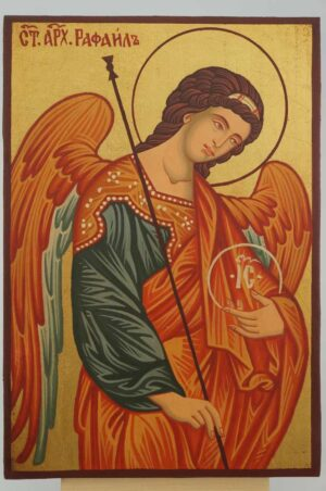 St Archangel Raphael the Healer small Icon Hand Painted Byzantine Orthodox