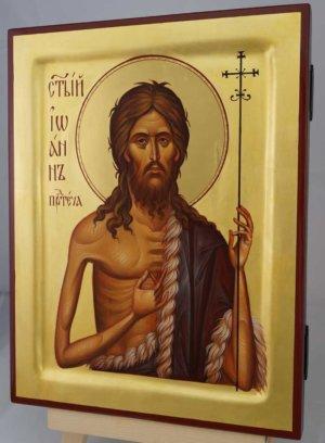 St John the Baptist polished gold halo Hand Painted Icon Byzantine Orthodox