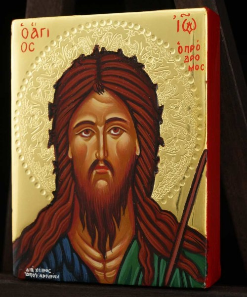 St John the Baptist polished gold miniature Hand Painted Icon Byzantine Orthodox
