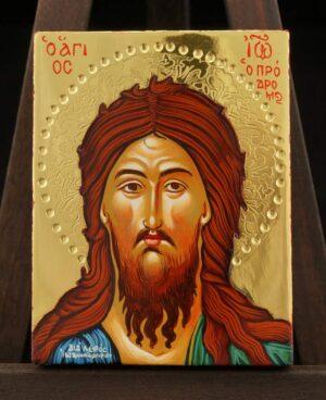 St John the Baptist polished gold miniature Icon Hand Painted Greek Orthodox