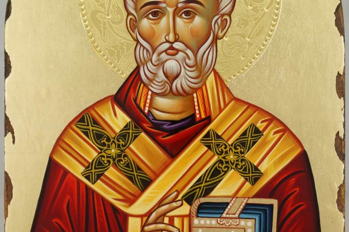 St Nicholas of Myra Arched Hand Painted Icon with Polished Gold Halo Byzantine Orthodox