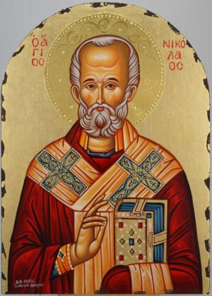 St Nicholas of Myra polished gold halo Icon Hand Painted Byzantine Orthodox