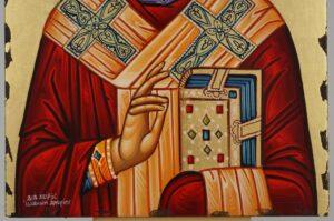 St Nicholas of Myra polished gold halo Icon Hand Painted Byzantine Orthodox