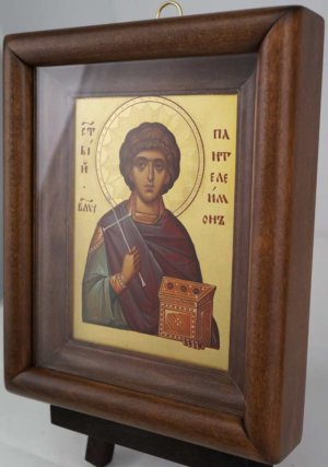 St Panteleimon Hand Painted Icon Byzantine Orthodox Framed
