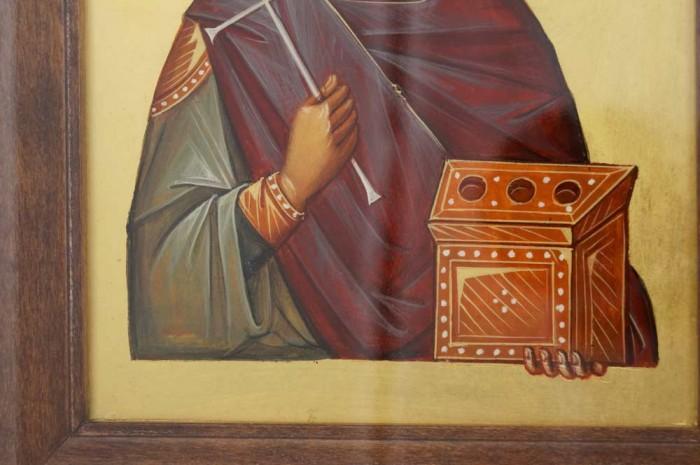 St Panteleimon Hand Painted Icon Byzantine Orthodox Framed