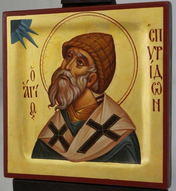 St Spyridon Bishop of Tremithus Hand Painted Icon Byzantine Orthodox