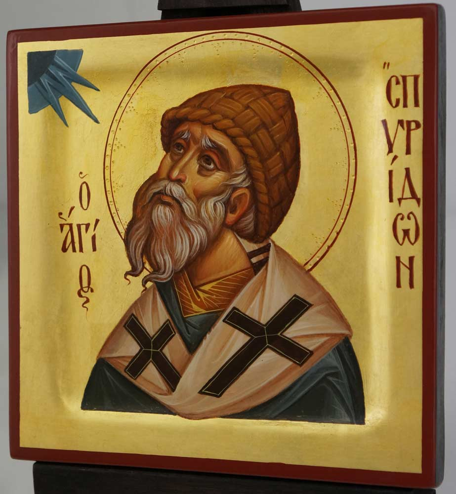 St Spyridon Bishop of Tremithus Hand Painted Icon Byzantine Orthodox