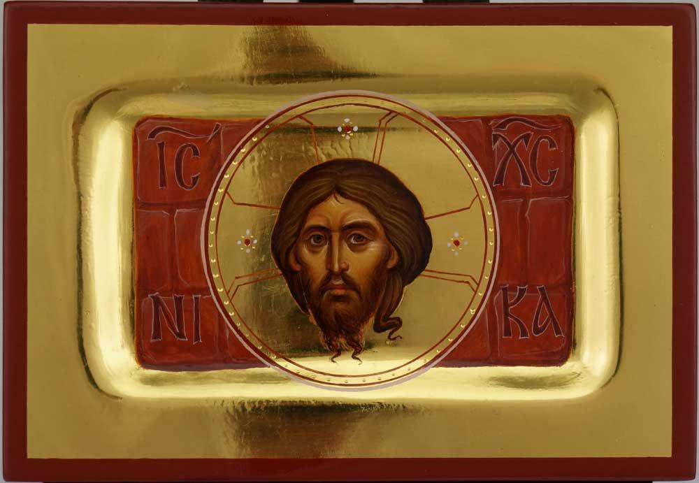 The Holy Keramion of Edessa Hand Painted Icon Byzantine Orthodox Polished Gold Icon