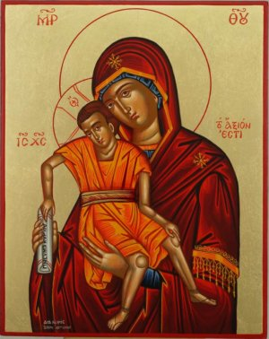 Theotokos Axion Esti Hand Painted Icon Byzantine Orthodox
