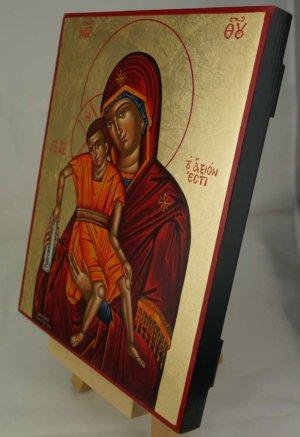 Theotokos Axion Esti Hand Painted Icon Byzantine Orthodox