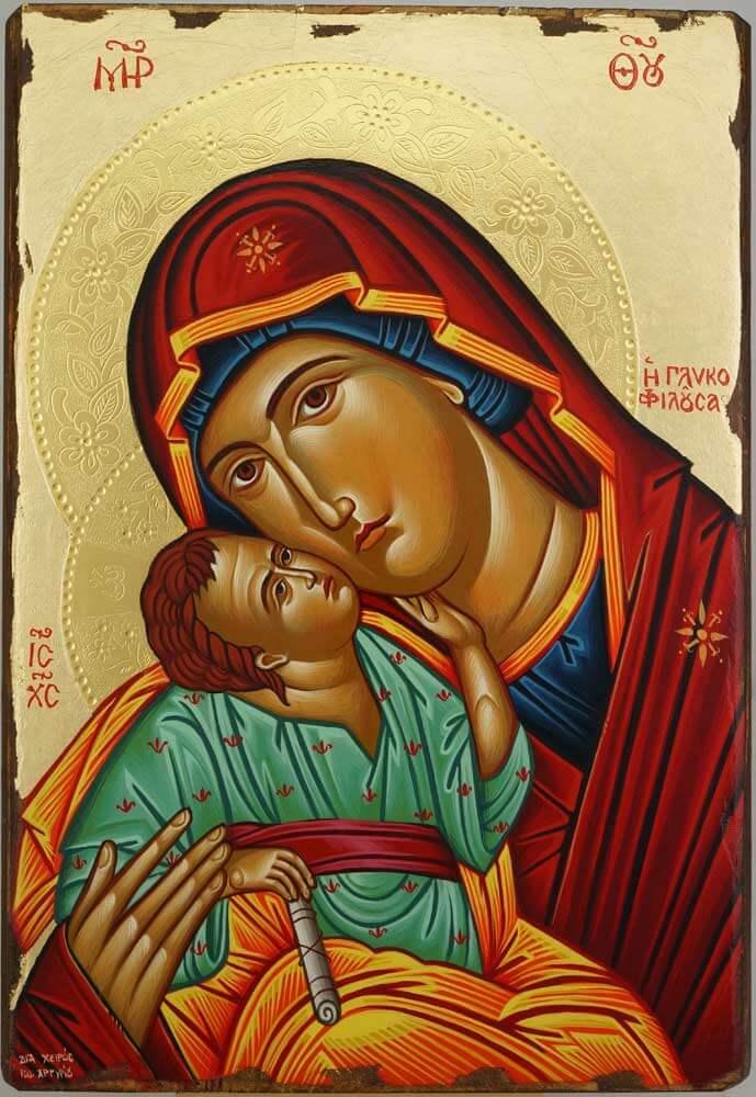Theotokos Glykophilousa Eleusa Hand Painted Icon Byzantine Orthodox