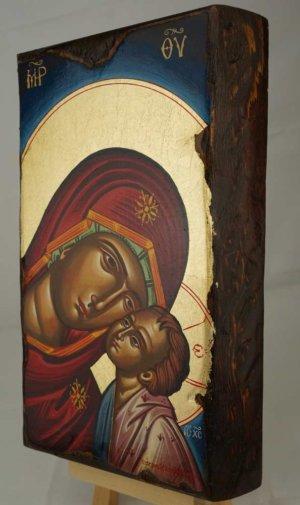 Theotokos Glykophilousa Hand Painted Byzantine Orthodox Icon on Wood