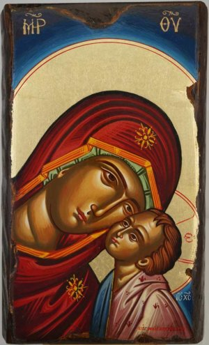 Theotokos Glykophilousa Hand Painted Byzantine Orthodox Icon on Wood