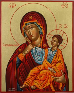 Theotokos Paramythia Hand Painted Greek Orthodox Icon on Wood