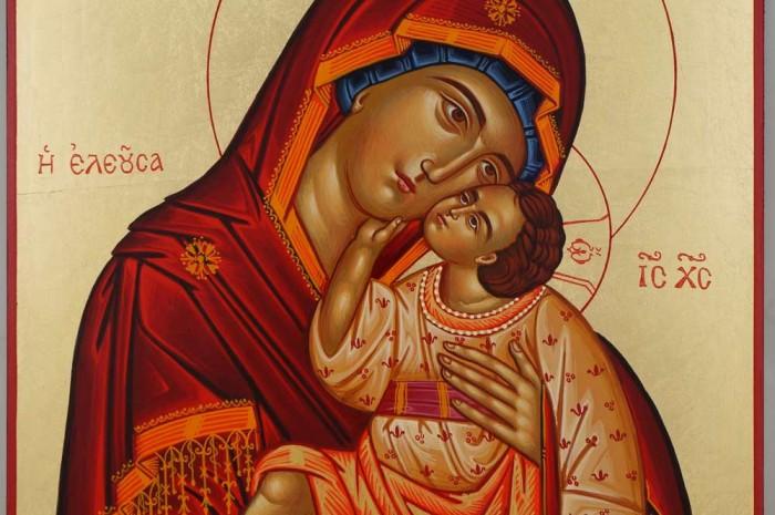 Theotokos Sweet Kissing Hand Painted Icon Byzantine Orthodox Greek Large