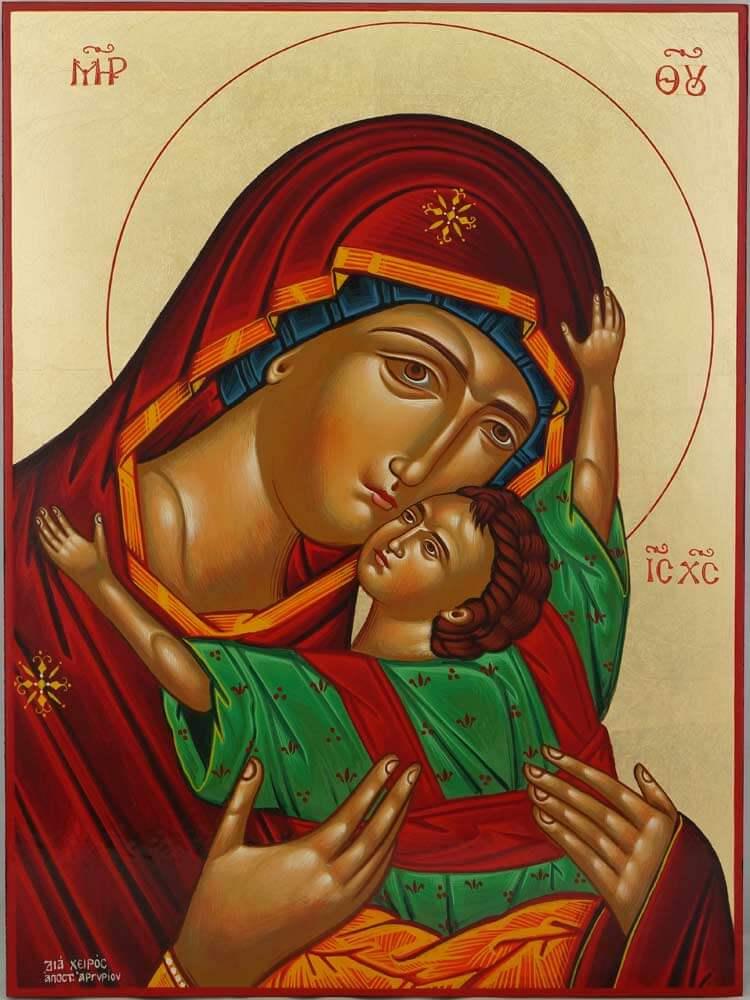 Theotokos Sweet Loving Hand Painted Icon Greek Orthodox Byzantine Large