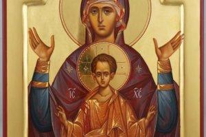Theotokos of the Sign Znamenie polished gold Hand Painted Icon Byzantine Orthodox