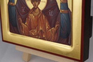 Theotokos of the Sign Znamenie polished gold Hand Painted Icon Byzantine Orthodox