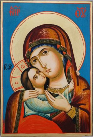 Virgin Mary Rilska Eleusa Large Hand Painted Orthodox Icon
