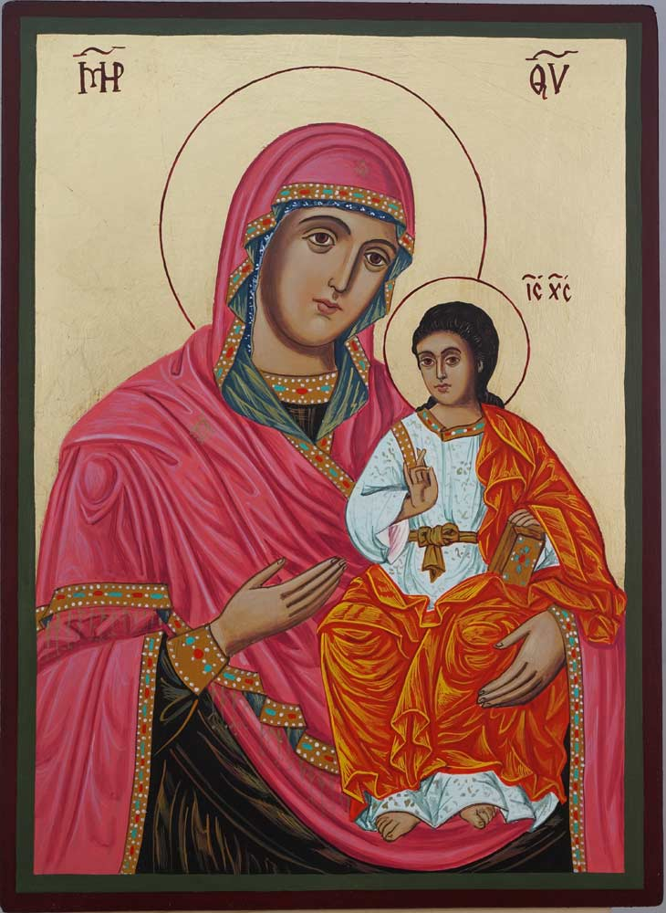 Virgin Mary the Guide Hand Painted Orthodox Icon on Wood