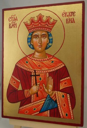 Catherine of Alexandria Hand Painted Orthodox Icon on Wood
