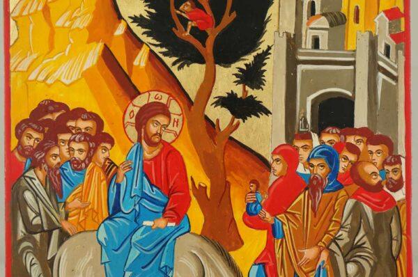 Entry Into Jerusalem Palm Sunday Hand Painted Icon Byzantine Orthodox on Wood