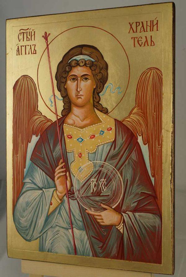Guardian Angel Hand Painted Byzantine Orthodox Icon on Wood