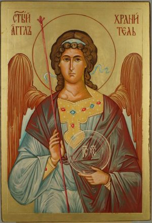Guardian Angel Hand Painted Byzantine Orthodox Icon on Wood