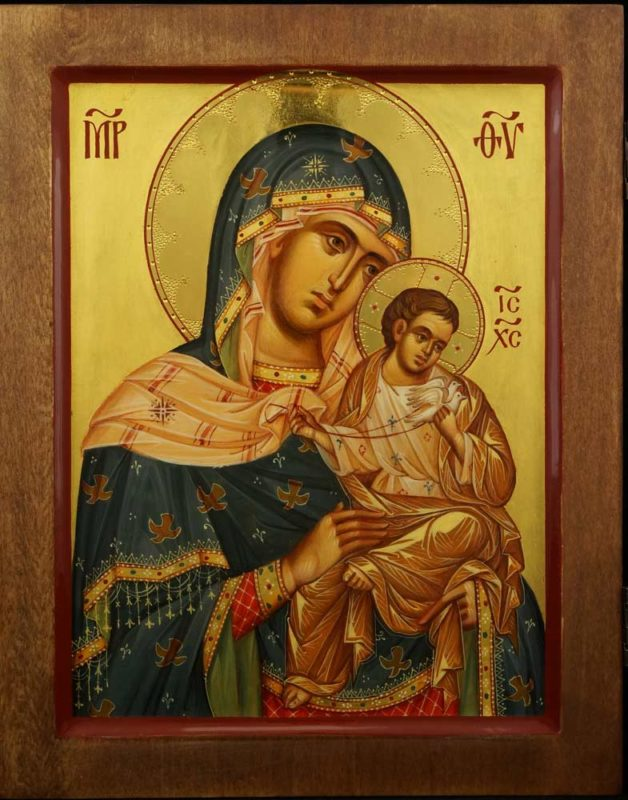 Konevskaya Golubitskaya Mother of God Hand Painted Byzantine Icon on Wood