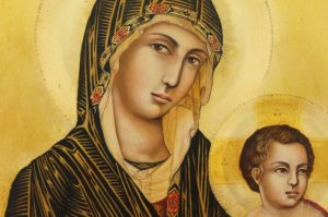Madonna and Child Icon Simone Martini Hand Painted Icon on Wood