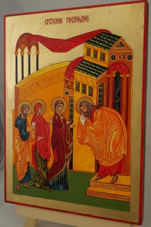 Presentation of Christ Hand Painted Byzantine Orthodox Icon on Wood