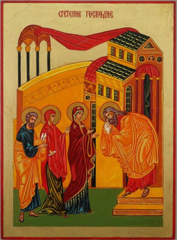Presentation of Christ Hand Painted Byzantine Orthodox Icon on Wood
