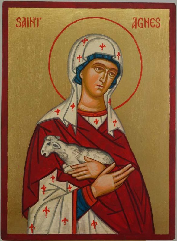 Saint Agnes of Rome Hand Painted Roman Catholic Icon on Wood