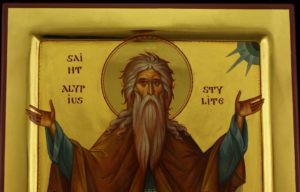 Saint Alypius the Stylite polished gold Hand Painted Byzantine Orthodox Icon