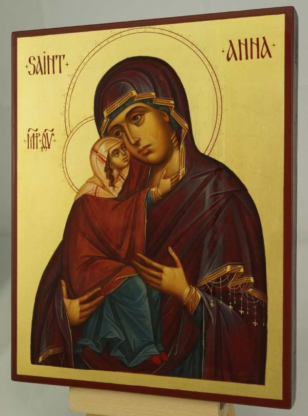 Saint Anna and the Theotokos Hand Painted Byzantine Icon on Wood