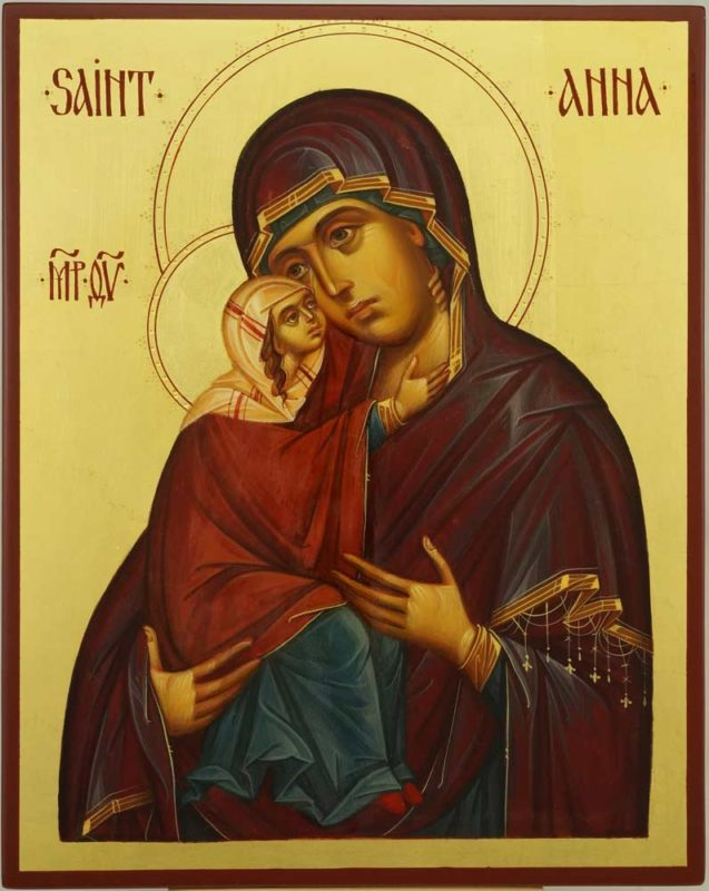 Saint Anna and the Theotokos Hand Painted Byzantine Icon on Wood