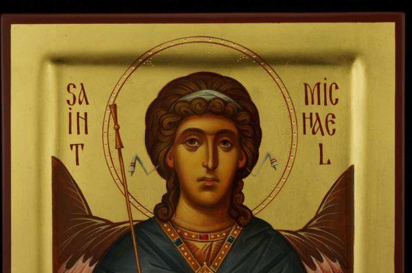 Saint Archangel Michael Raised Border Icon Hand Painted Byzantine Orthodox