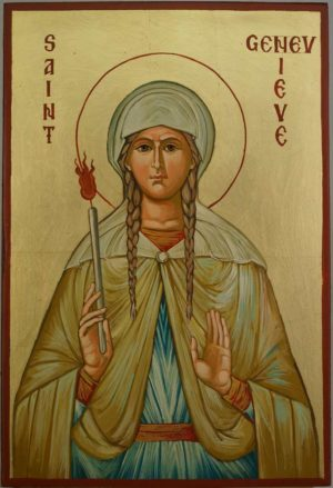 Saint Genevieve of Paris Hand Painted Orthodox Icon on Wood