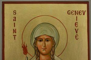 Saint Genevieve of Paris Hand Painted Orthodox Icon on Wood