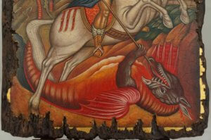 Saint George Slaying the Dragon Hand Painted Byzantine Icon