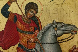 Saint George Slaying the Dragon Icon Hand Painted Antique Style Orthodox Icon