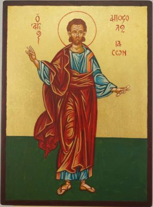 Saint Jason the Apostle Hand Painted Byzantine Orthodox Icon on Wood