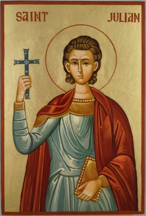 Saint Julian the Martyr Hand Painted Byzantine Orthodox Icon on Wood