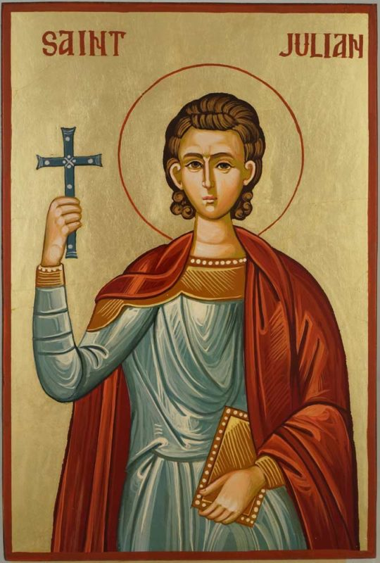 Saint Julian the Martyr Hand Painted Byzantine Orthodox Icon on Wood