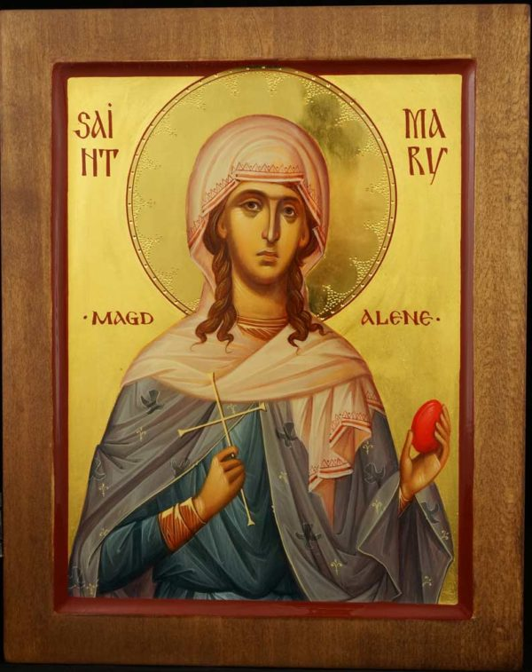 Saint Mary Magdalene Holding Egg and Cross Hand Painted Byzantine Icon